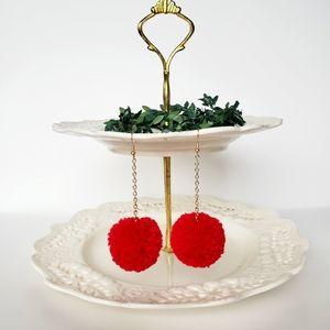 Red Pom Pom Earrings  Boho